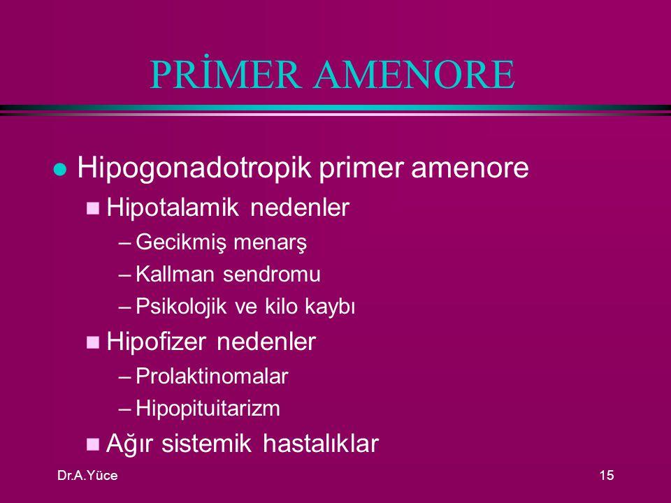 PRİMER AMENORE Hipogonadotropik primer amenore Hipotalamik nedenler