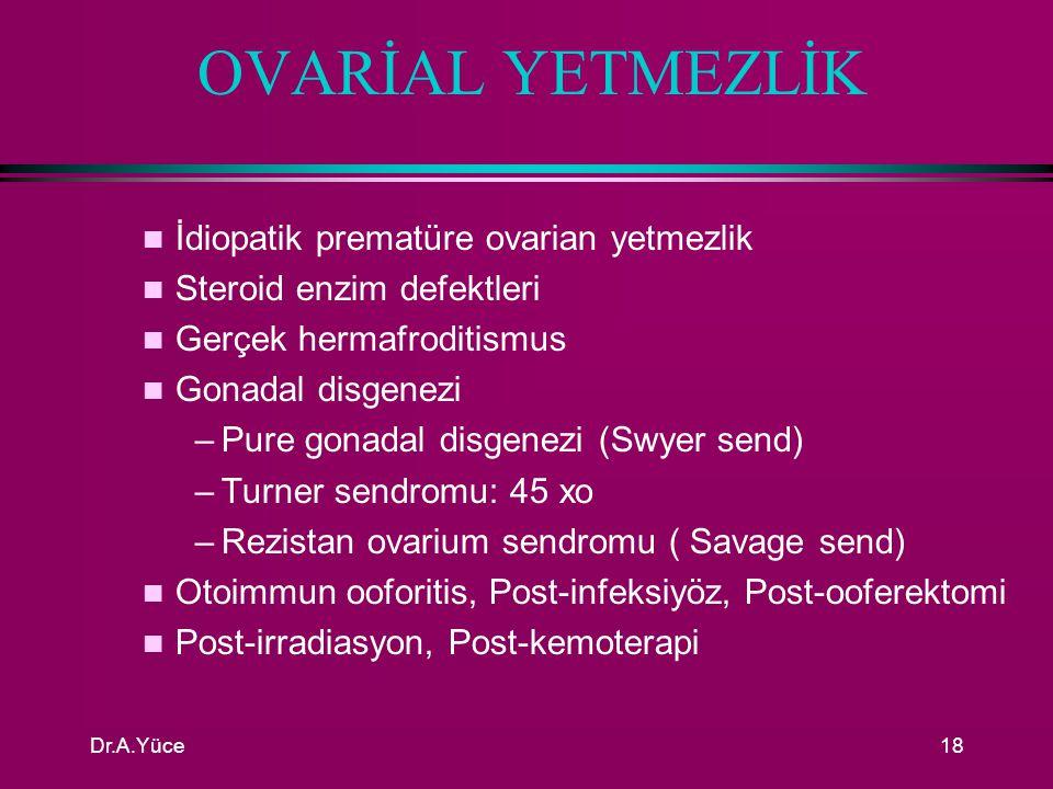 OVARİAL YETMEZLİK İdiopatik prematüre ovarian yetmezlik