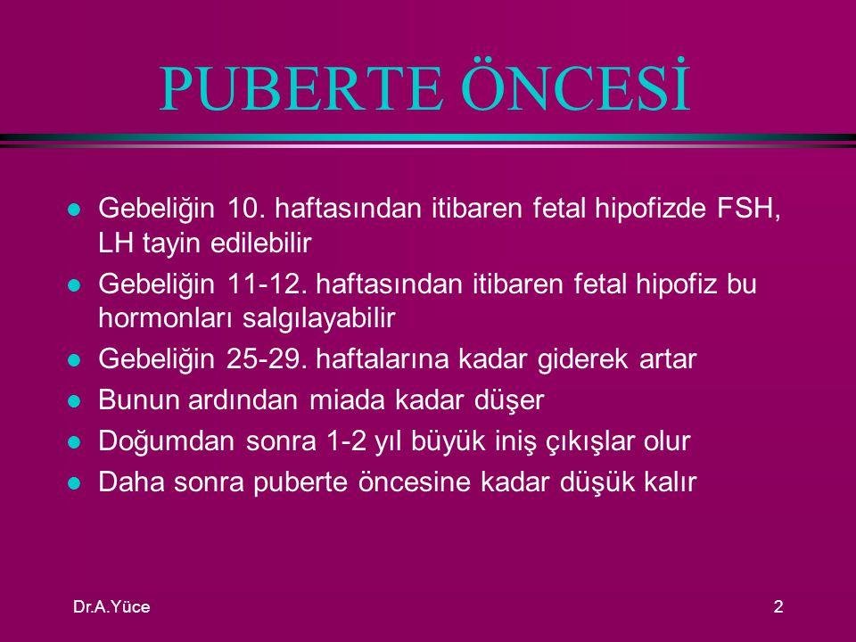 PUBERTE ÖNCESİ Gebeliğin 10. haftasından itibaren fetal hipofizde FSH, LH tayin edilebilir.