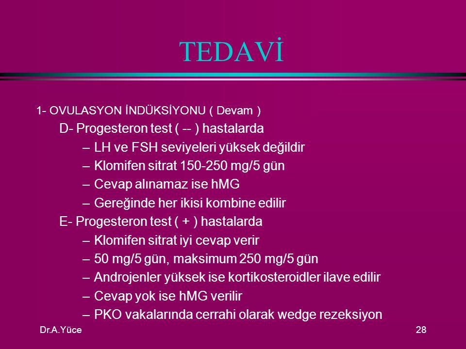 TEDAVİ D- Progesteron test ( -- ) hastalarda