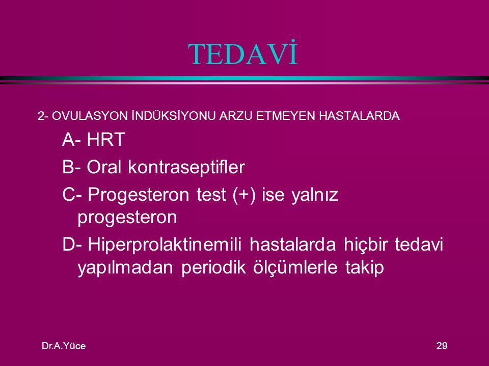 TEDAVİ A- HRT B- Oral kontraseptifler