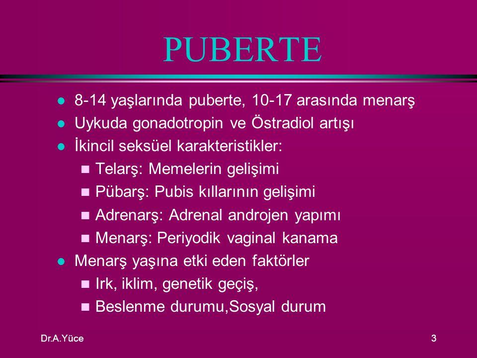 PUBERTE 8-14 yaşlarında puberte, 10-17 arasında menarş