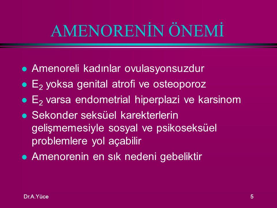 AMENORENİN ÖNEMİ Amenoreli kadınlar ovulasyonsuzdur