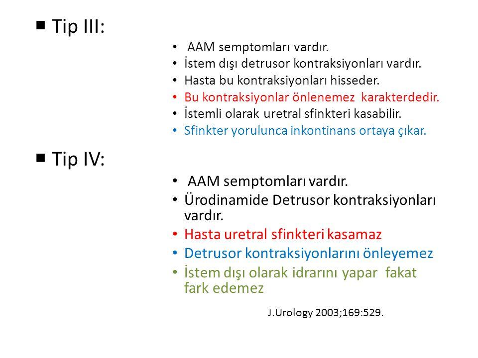 Tip III: Tip IV: Ürodinamide Detrusor kontraksiyonları vardır.
