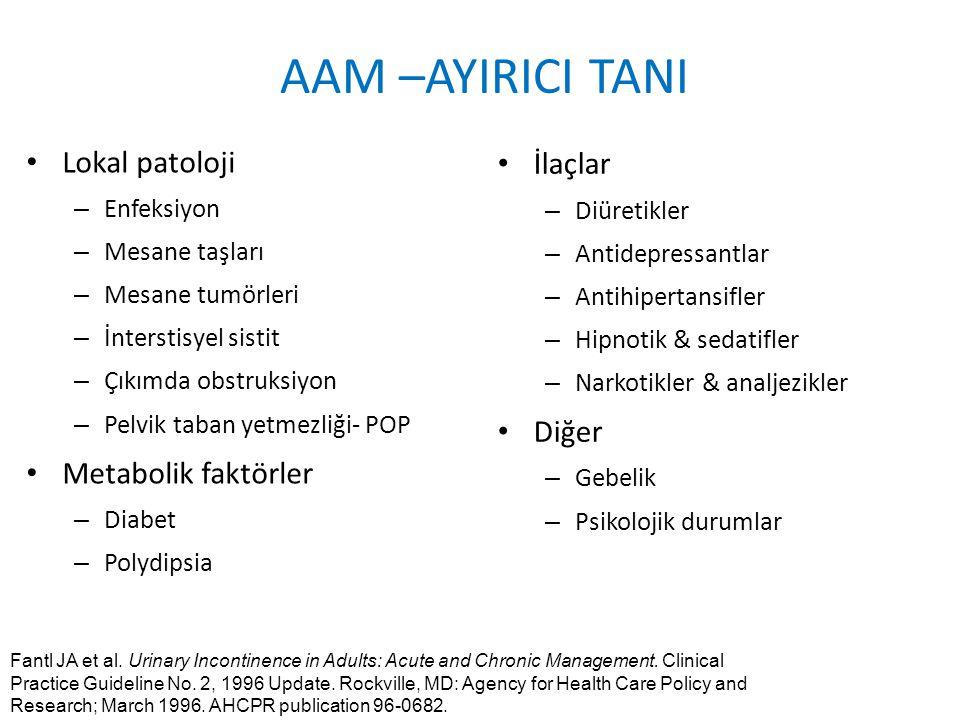 AAM –AYIRICI TANI Lokal patoloji İlaçlar Diğer Metabolik faktörler