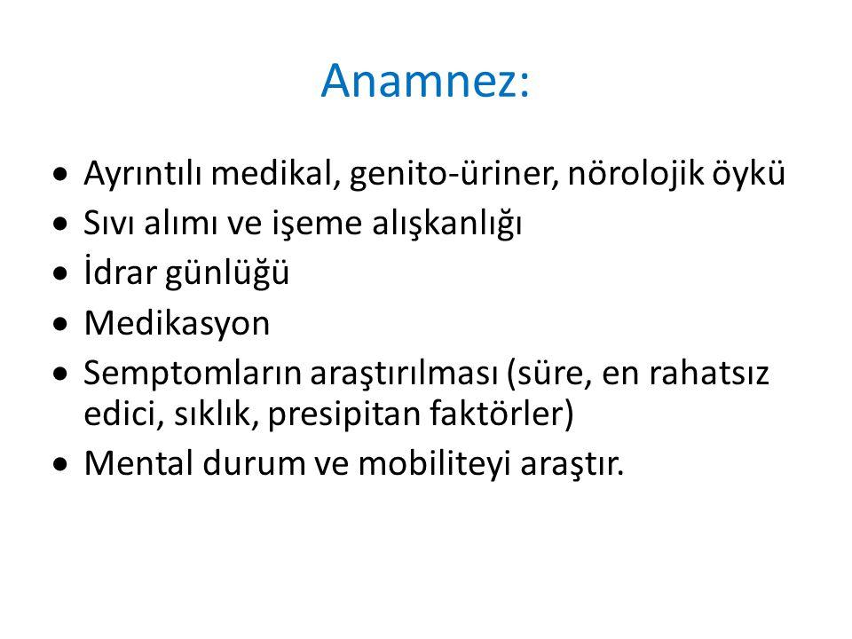Anamnez: Ayrıntılı medikal, genito-üriner, nörolojik öykü