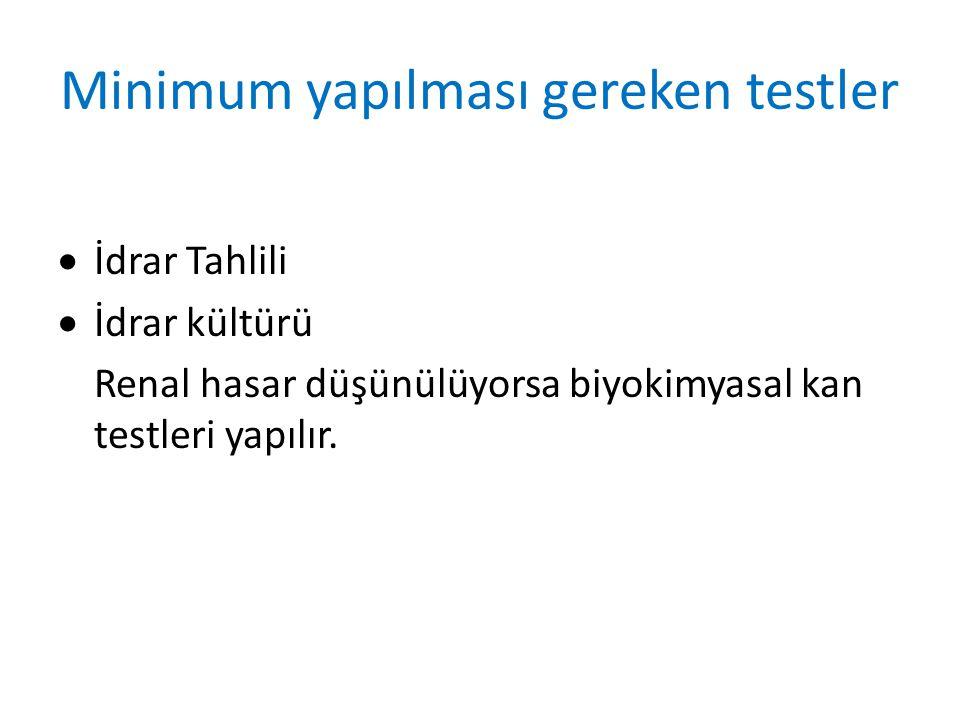 Minimum yapılması gereken testler