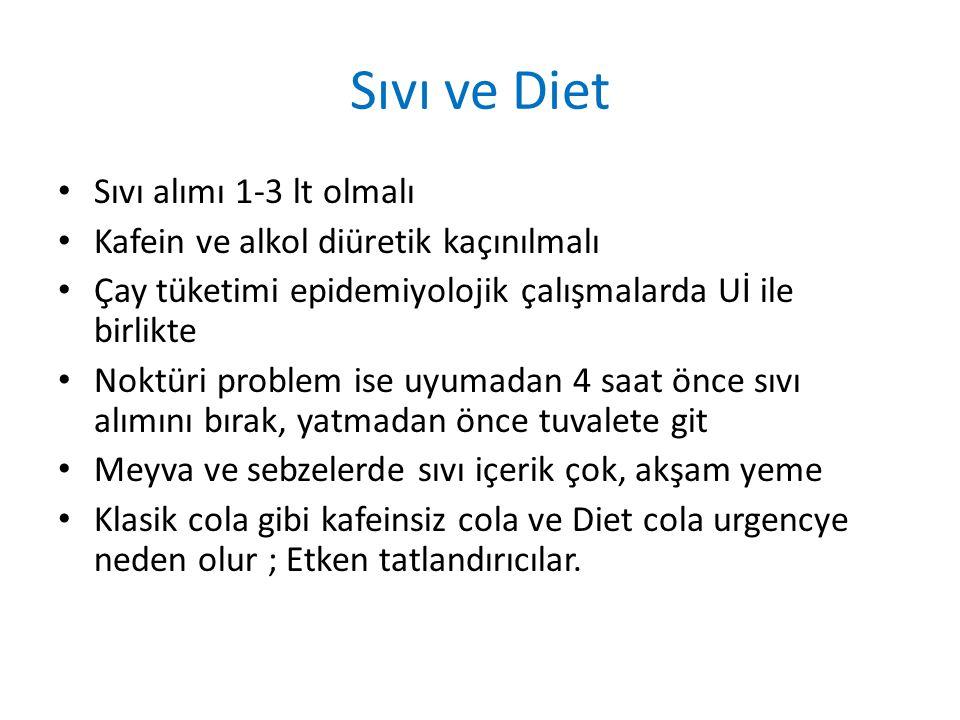 Sıvı ve Diet Sıvı alımı 1-3 lt olmalı