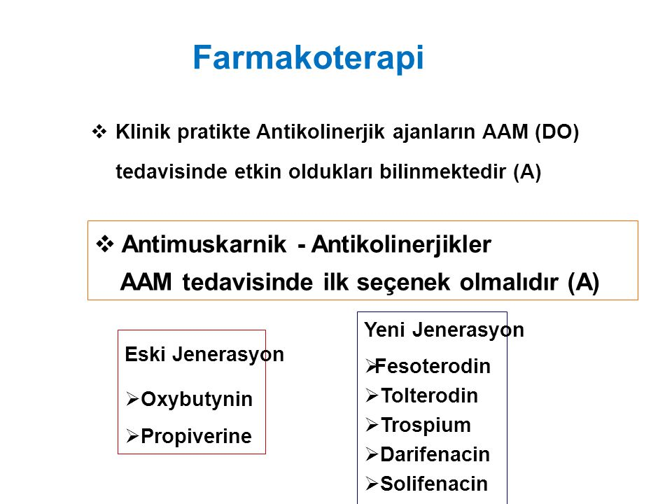 Farmakoterapi Antimuskarnik - Antikolinerjikler