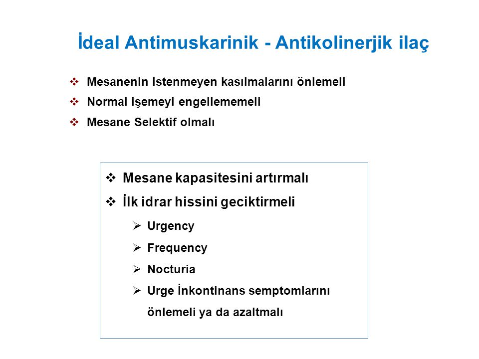 İdeal Antimuskarinik - Antikolinerjik ilaç