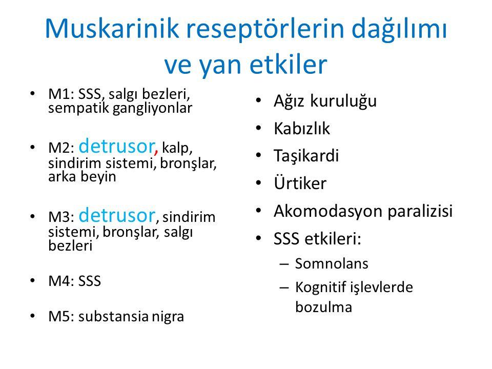 Muskarinik reseptörlerin dağılımı ve yan etkiler