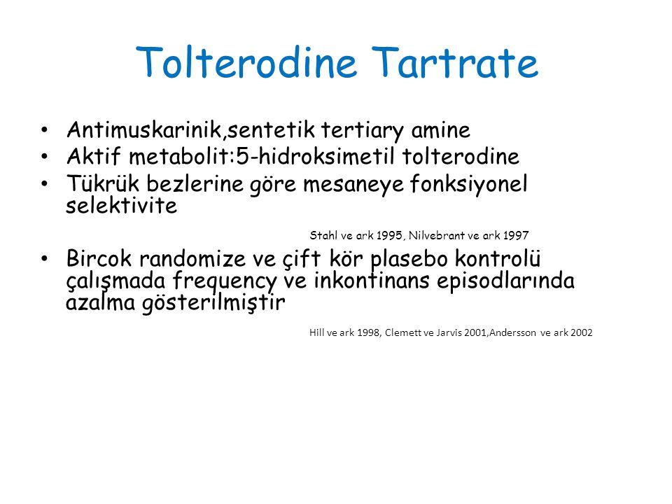 Tolterodine Tartrate Antimuskarinik,sentetik tertiary amine