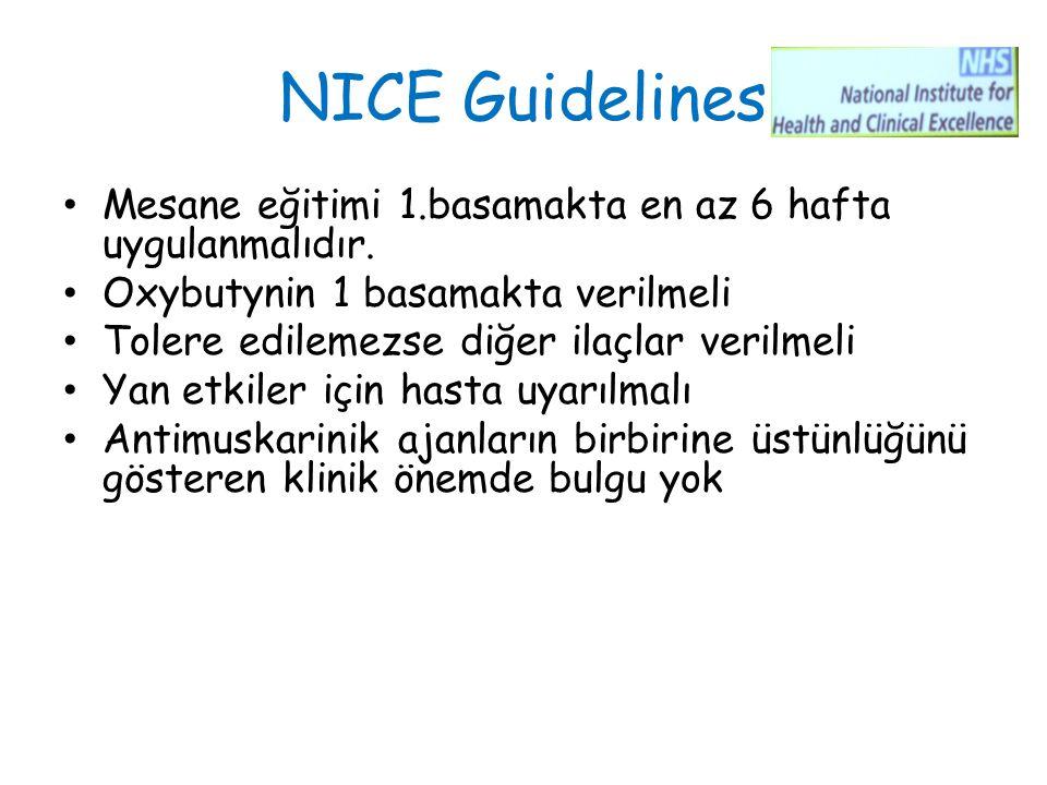 NICE Guidelines Mesane eğitimi 1.basamakta en az 6 hafta uygulanmalıdır. Oxybutynin 1 basamakta verilmeli.