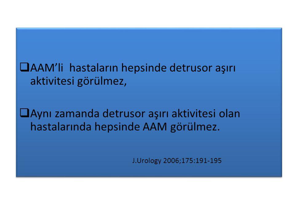 AAM'li hastaların hepsinde detrusor aşırı aktivitesi görülmez,