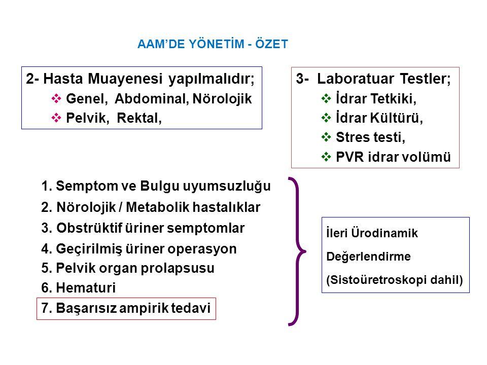 2- Hasta Muayenesi yapılmalıdır; 3- Laboratuar Testler;