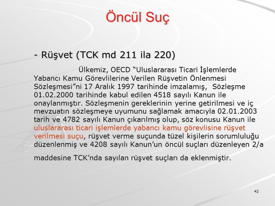 Öncül Suç - Rüşvet (TCK md 211 ila 220)