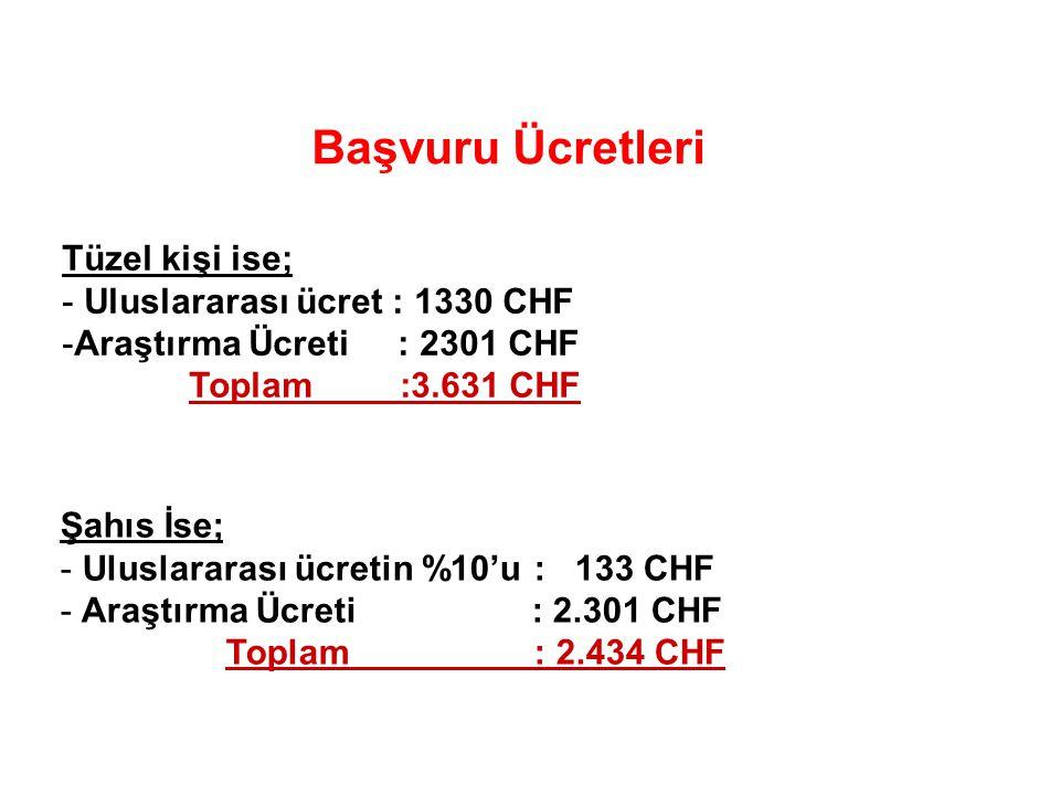 Başvuru Ücretleri Tüzel kişi ise; Uluslararası ücret : 1330 CHF