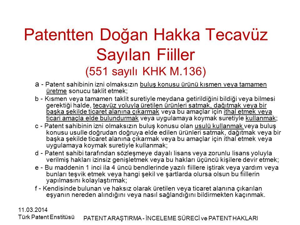 Patentten Doğan Hakka Tecavüz Sayılan Fiiller (551 sayılı KHK M.136)