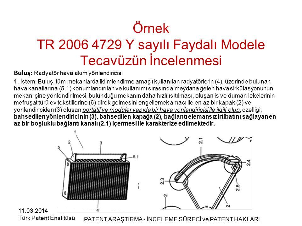 Örnek TR 2006 4729 Y sayılı Faydalı Modele Tecavüzün İncelenmesi