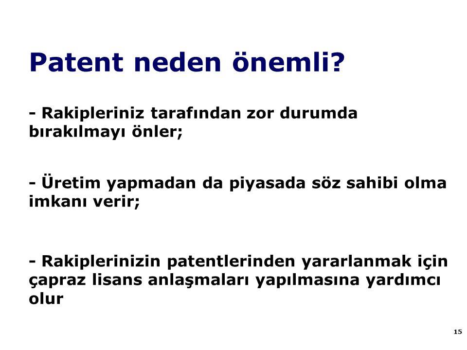 Patent neden önemli - Rakipleriniz tarafından zor durumda bırakılmayı önler; - Üretim yapmadan da piyasada söz sahibi olma imkanı verir;