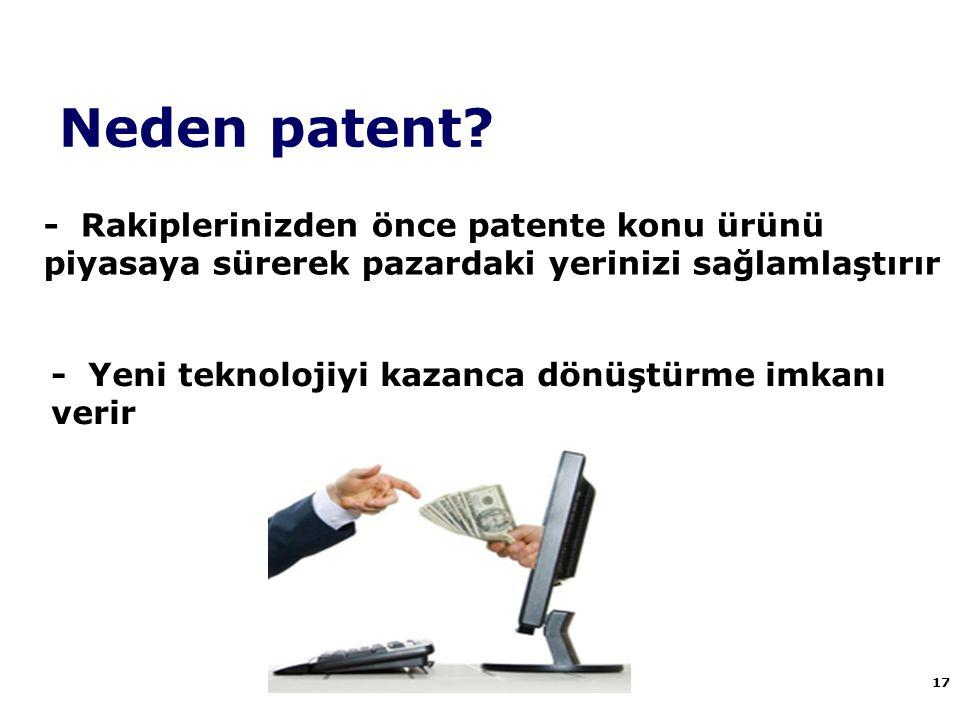 Neden patent - Rakiplerinizden önce patente konu ürünü piyasaya sürerek pazardaki yerinizi sağlamlaştırır.