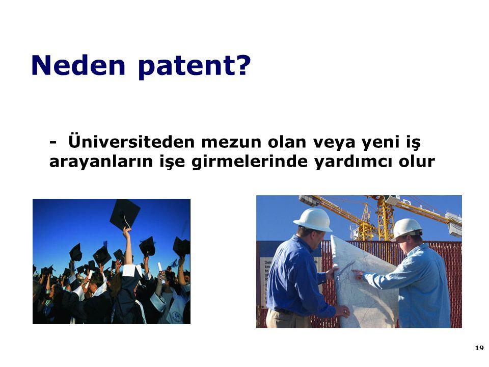 Neden patent - Üniversiteden mezun olan veya yeni iş arayanların işe girmelerinde yardımcı olur. 19.