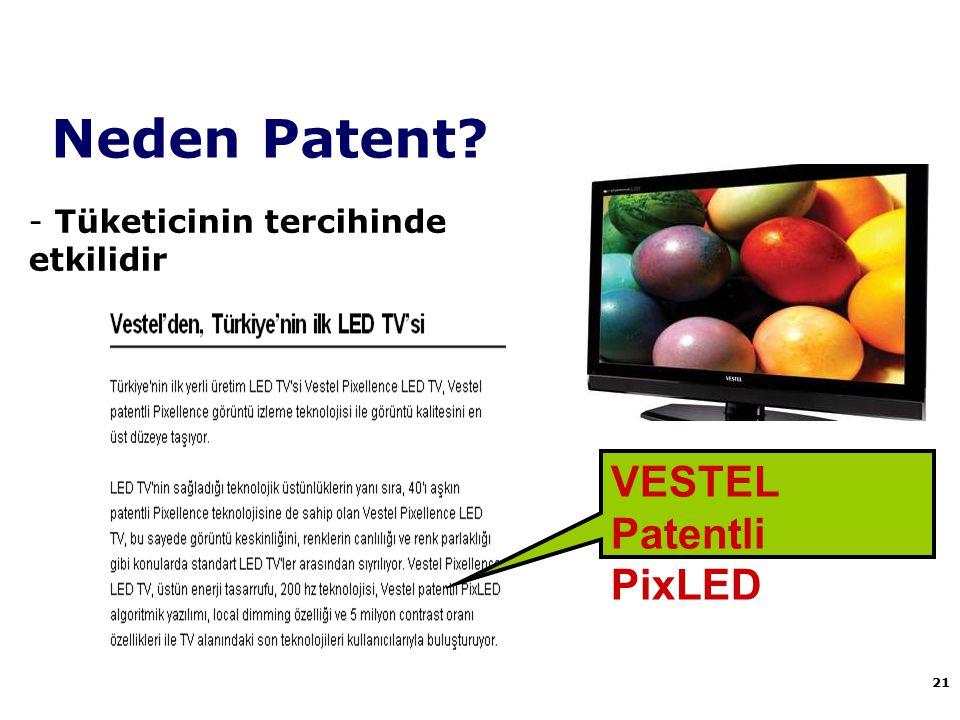 Neden Patent VESTEL Patentli PixLED Tüketicinin tercihinde etkilidir