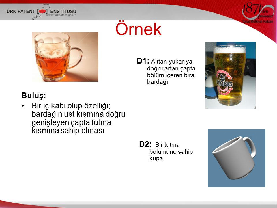 Örnek D1: Alttan yukarıya doğru artan çapta bölüm içeren bira bardağı