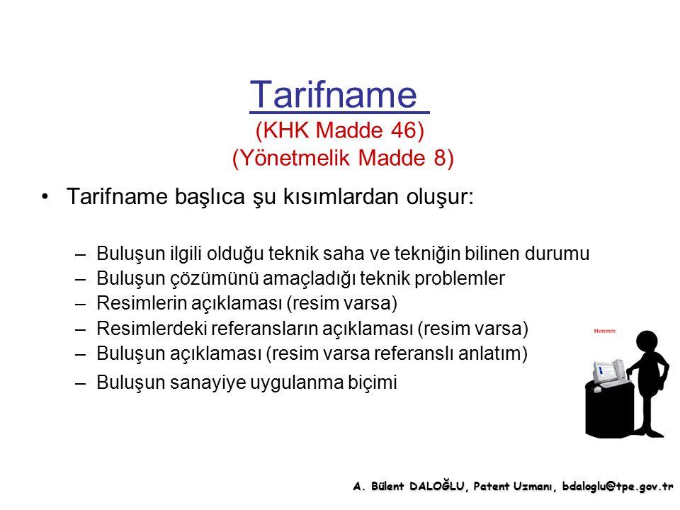 Tarifname (KHK Madde 46) (Yönetmelik Madde 8)