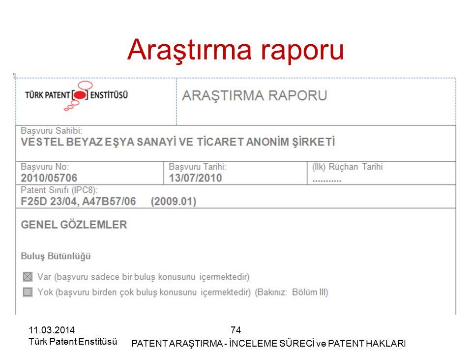 Araştırma raporu 11.03.2014 Türk Patent Enstitüsü