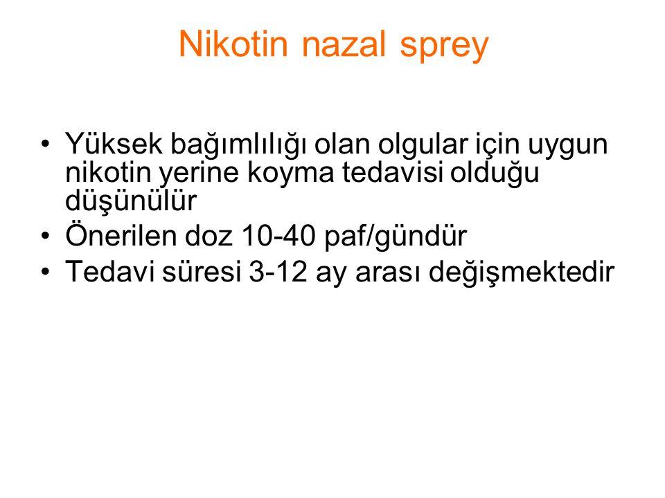 Nikotin nazal sprey Yüksek bağımlılığı olan olgular için uygun nikotin yerine koyma tedavisi olduğu düşünülür.