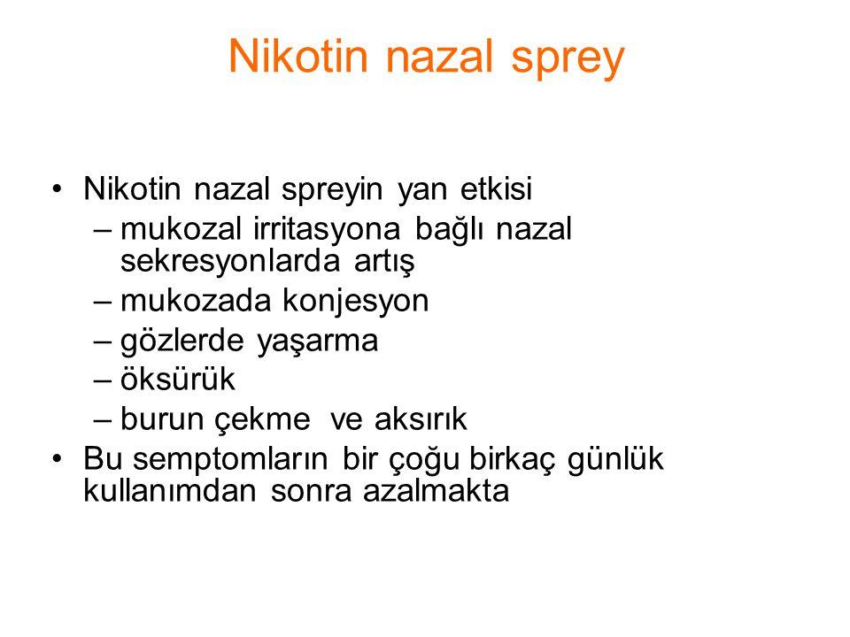 Nikotin nazal sprey Nikotin nazal spreyin yan etkisi