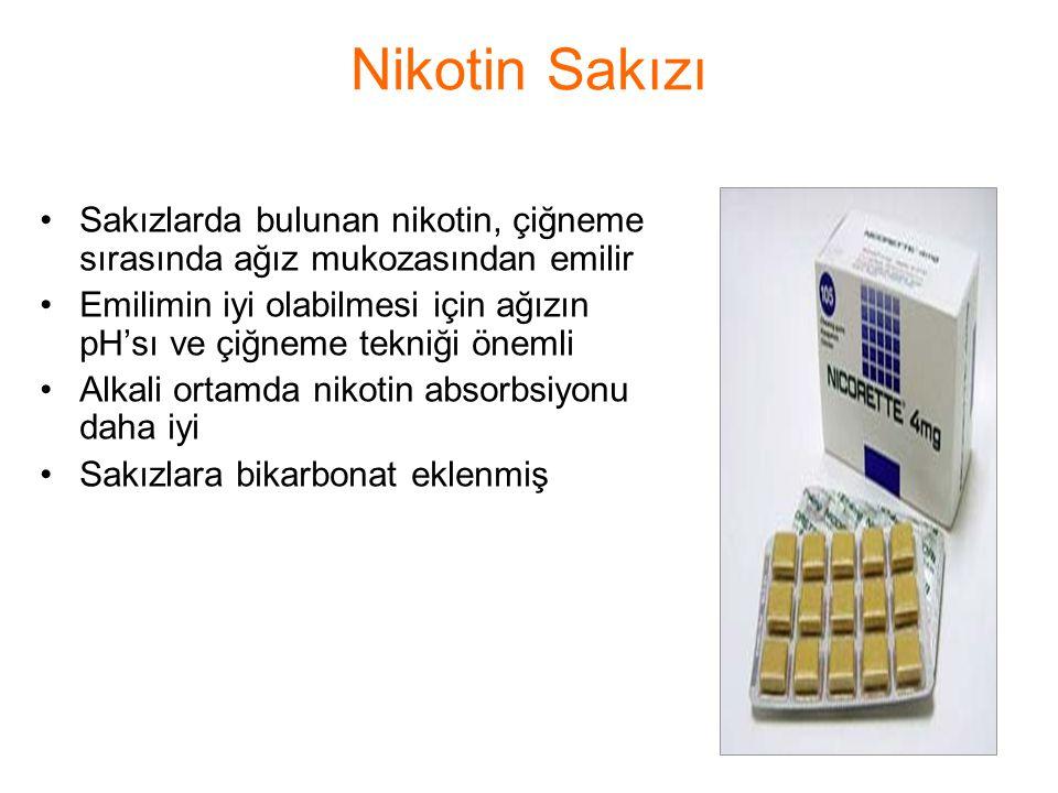 Nikotin Sakızı Sakızlarda bulunan nikotin, çiğneme sırasında ağız mukozasından emilir.