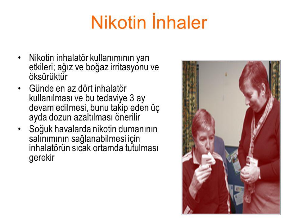 Nikotin İnhaler Nikotin inhalatör kullanımının yan etkileri; ağız ve boğaz irritasyonu ve öksürüktür.