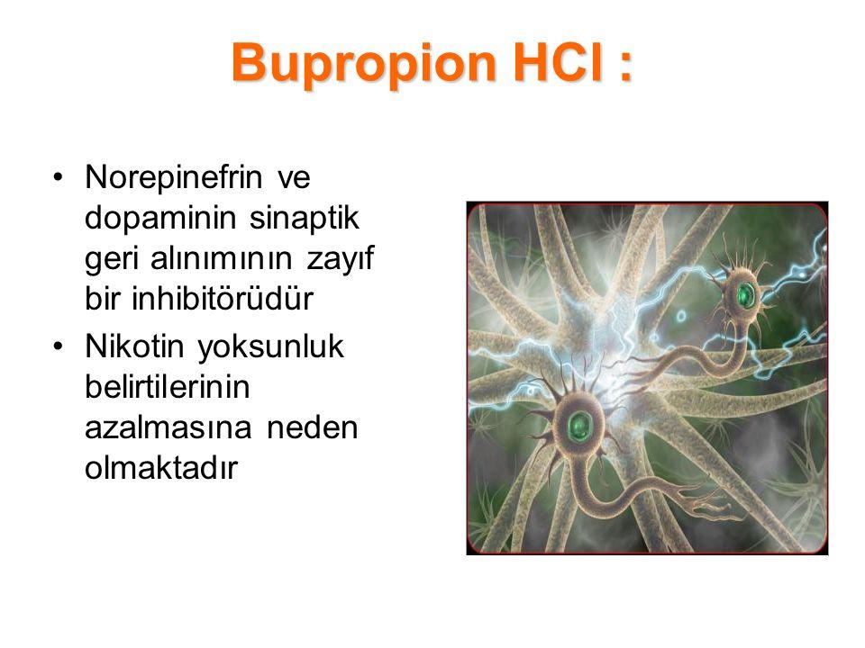 Bupropion HCl : Norepinefrin ve dopaminin sinaptik geri alınımının zayıf bir inhibitörüdür.