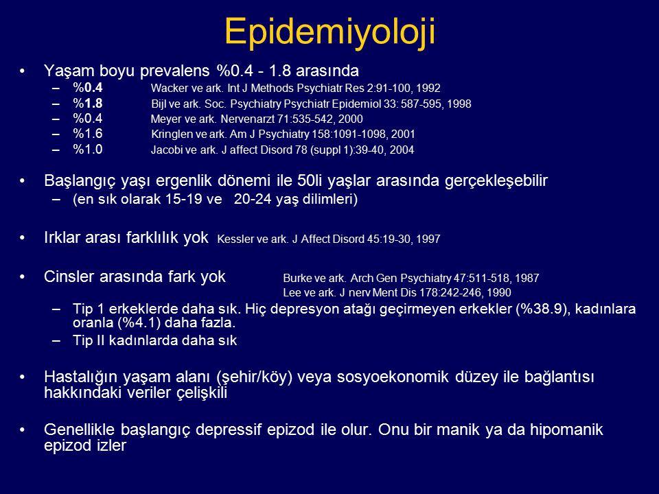 Epidemiyoloji Yaşam boyu prevalens %0.4 - 1.8 arasında