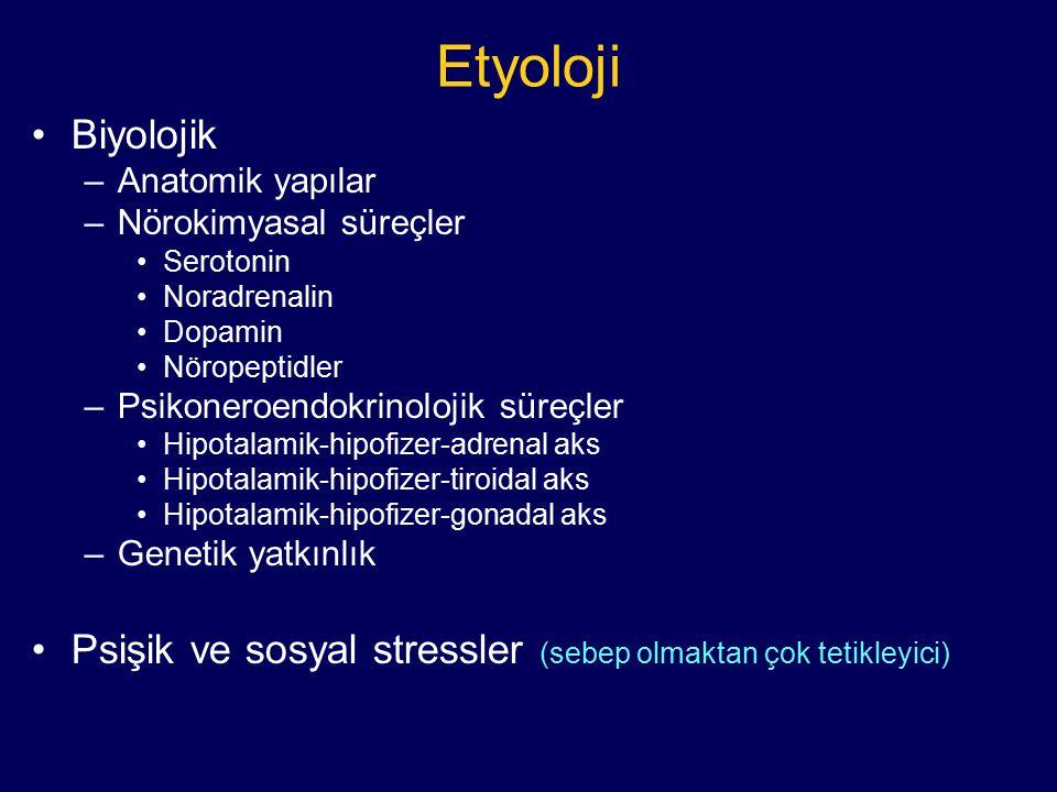 Etyoloji Biyolojik. Anatomik yapılar. Nörokimyasal süreçler. Serotonin. Noradrenalin. Dopamin.