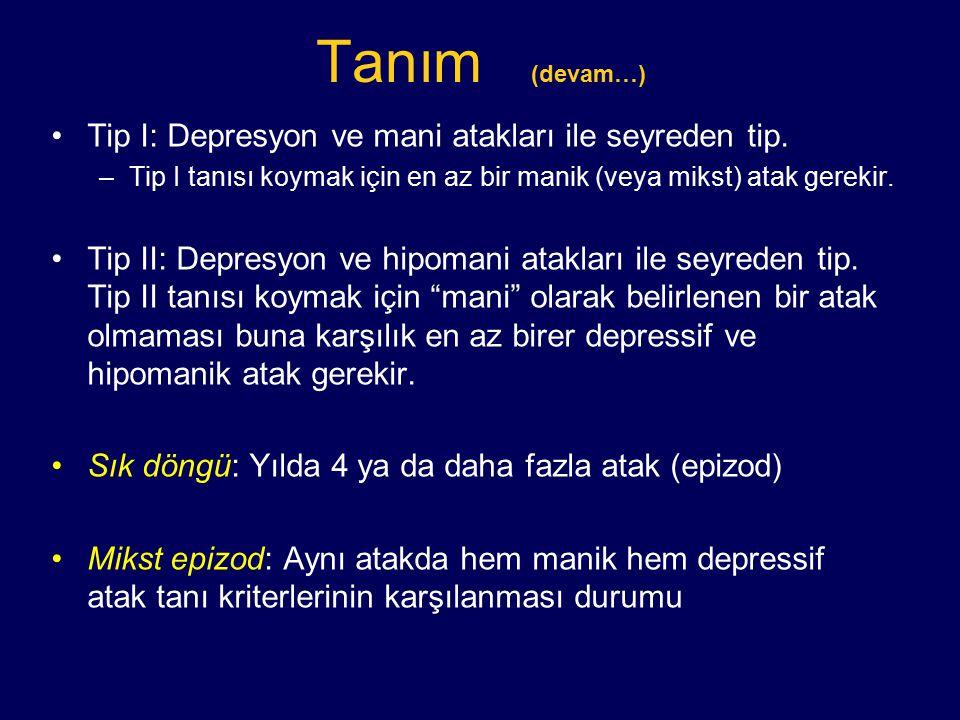 Tanım (devam…) Tip I: Depresyon ve mani atakları ile seyreden tip.
