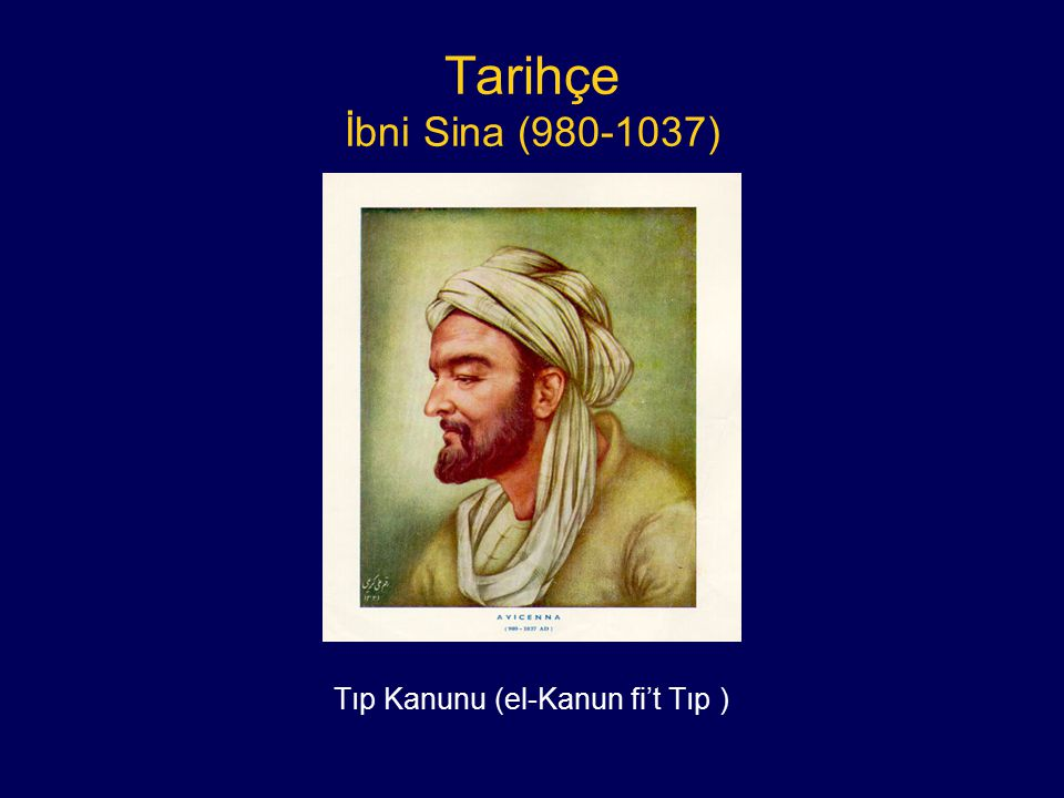 Tarihçe İbni Sina (980-1037) Tıp Kanunu (el-Kanun fi't Tıp )