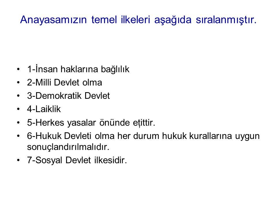 Anayasamızın temel ilkeleri aşağıda sıralanmıştır.