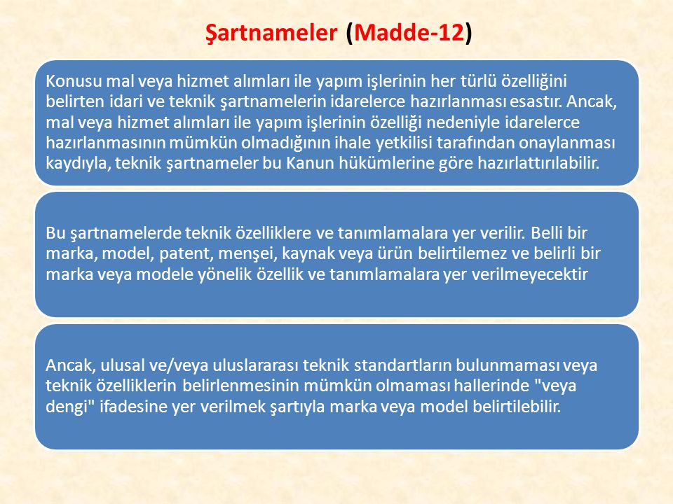 Şartnameler (Madde-12)