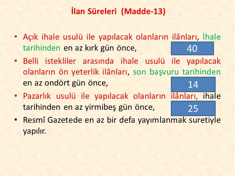 İlan Süreleri (Madde-13)