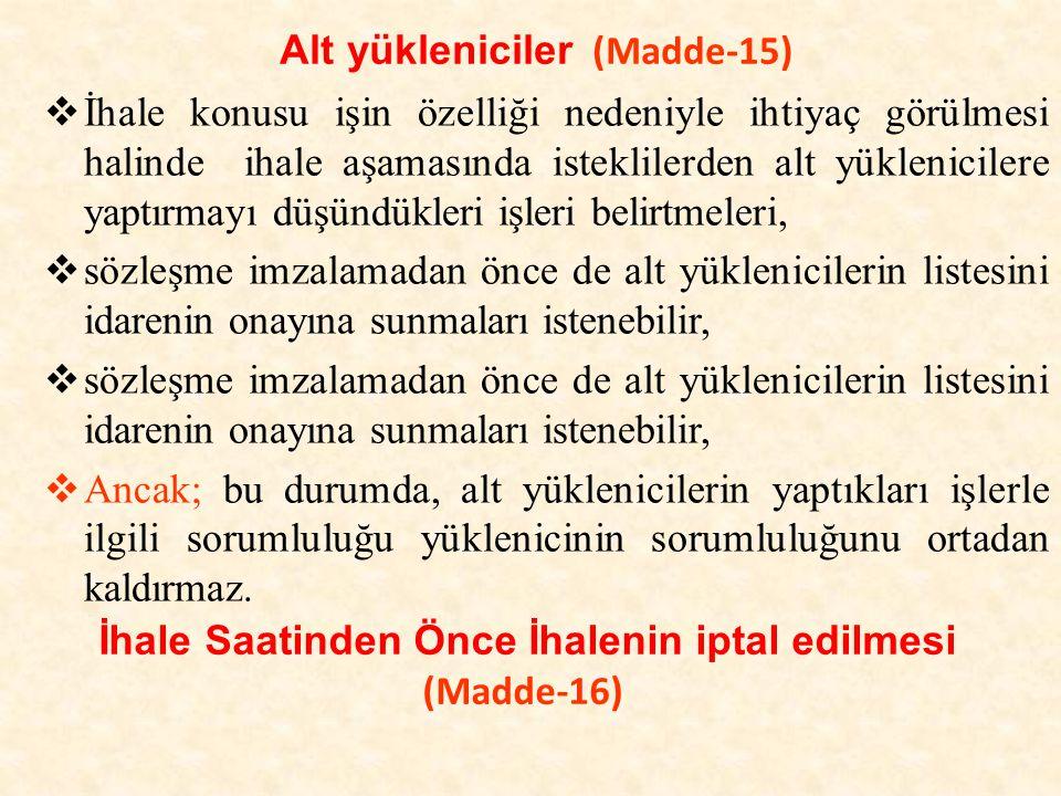 Alt yükleniciler (Madde-15)