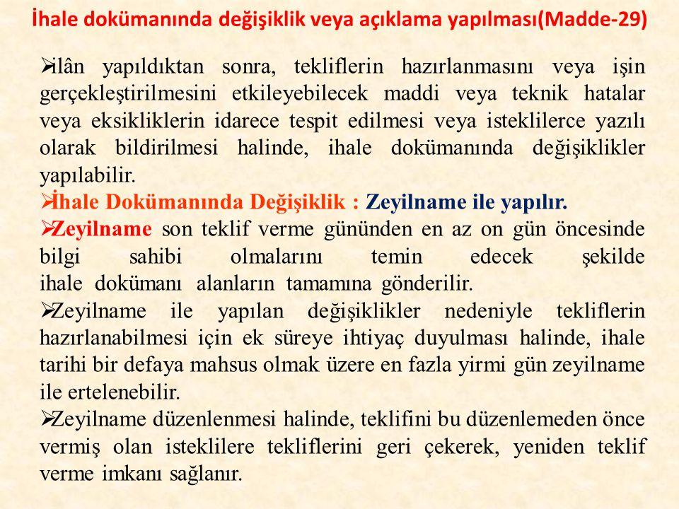 İhale dokümanında değişiklik veya açıklama yapılması(Madde-29)