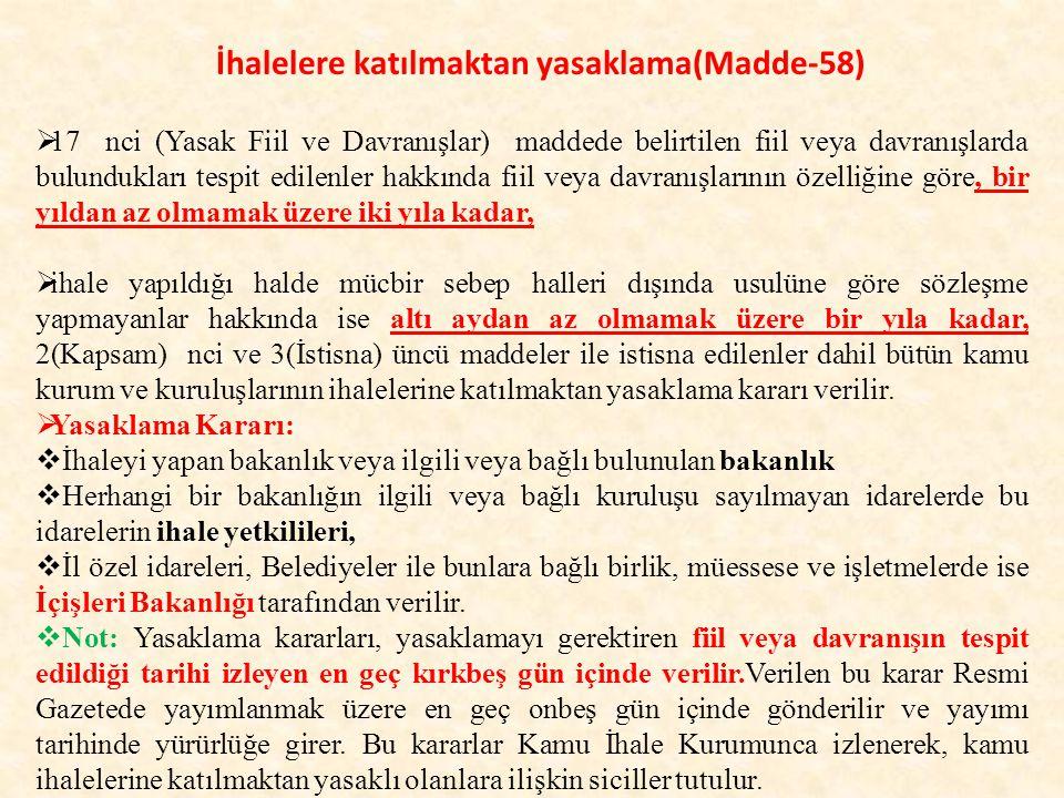 İhalelere katılmaktan yasaklama(Madde-58)
