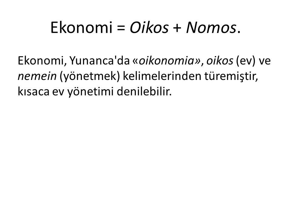 Ekonomi = Oikos + Nomos.