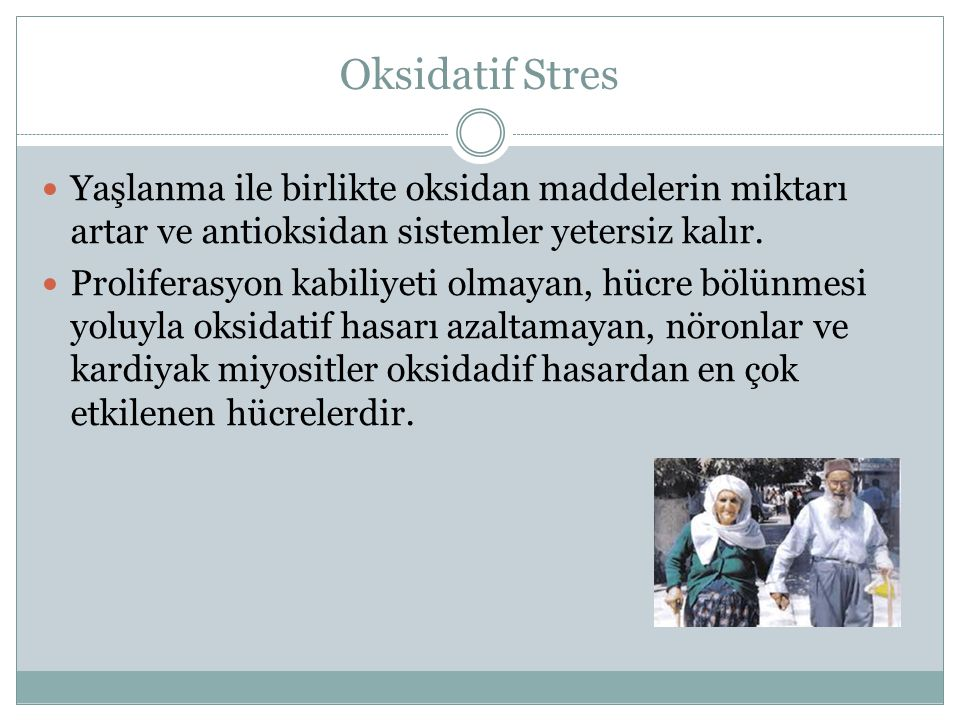 Oksidatif Stres Yaşlanma ile birlikte oksidan maddelerin miktarı artar ve antioksidan sistemler yetersiz kalır.