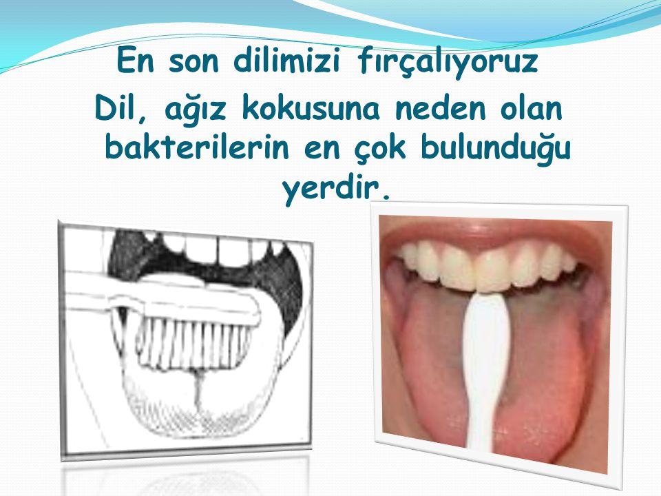 En son dilimizi fırçalıyoruz Dil, ağız kokusuna neden olan bakterilerin en çok bulunduğu yerdir.