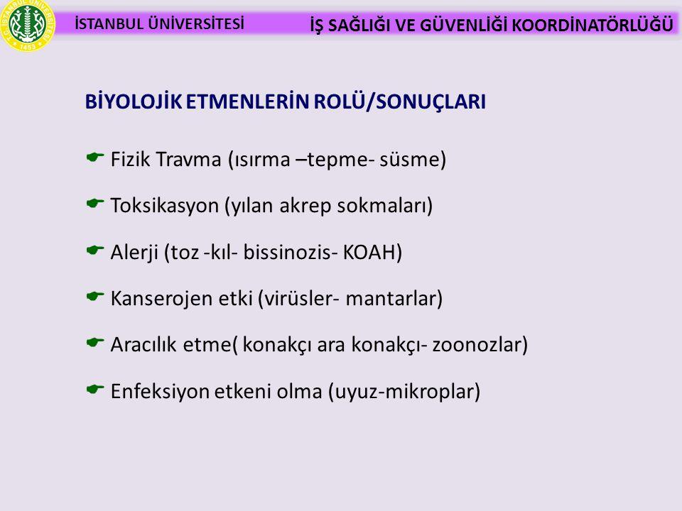 BİYOLOJİK ETMENLERİN ROLÜ/SONUÇLARI