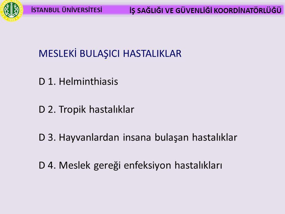 MESLEKİ BULAŞICI HASTALIKLAR D 1. Helminthiasis